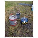 2 - 1 Gallon & 1- 2 Gallon Metal Gas Cans