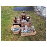 Lot Of  Canning Jars, Glass Lids & Old Bottles