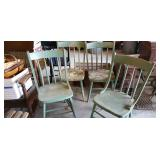 4 Wooden Painted Green Chairs