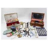 2 Jewelry Boxes & Variety Of Jewelry, Rosaries