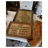 Vintage Framed Prints, GLF Burlap