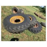 Set of 4 Loader Tires & Rims - 1400 X 24 Wheels