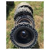 Set 4 Skid Steer Hard Rubber Tires & Rims