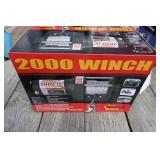 NEW WOODS 2000 LB 12 VOLT WINCH W/ MOUNT BRACKET