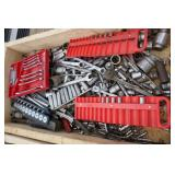 BOX FULL OF SOCKETS AND WRENCHES