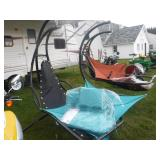 HANGING HAMMOCK W/ CANOPY TOP & STAND - TEAL
