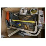 BOX OF HACKSAWS, TAPE MEASURES, RAZOR KNIFES