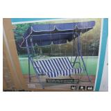NEW-BLUE SWING CHAIR W/ CANOPY