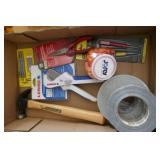 BOX LOT - HAMMER, TAPE ETC