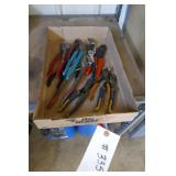 BOX LOT ASST. ADJ. PLIERS, WIRE CUTTERS, PLIERS