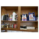 CUPBOARD W/ OILS, SPARK PLUGS