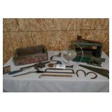 OLD STEERING WHEEL,OLD TOOLS,A-TREAT BEVERAGE BOX,