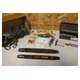 BOX OF ASST. CHAIN SAW BLADES & SHARPENER