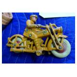ANTIQUE TOY METAL MOTORCYCLE W/ RUBBER WHEELS