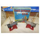 ANTIQUE TOY COAST DEFENSE GUNS IN ORIGINAL BOX