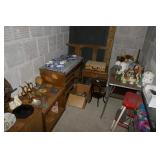 INSIDE STORAGE LOCKER-VANITY, TABLE, METAL SHELF