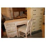 DESK, CHAIR AND DRESSER (WHITE)