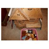 2 WOOD DOLL HOUSES- DOLL HOUSE FURNITURE