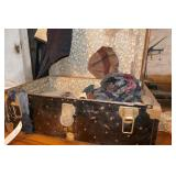 STEAMER TRUNK W/ VINTAGE CLOTHING &