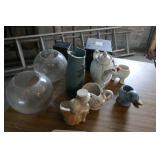 ASSORTED GLASSWARE, PLANTERS
