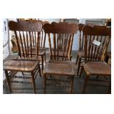 6 WOOD PRESS BACK CHAIRS