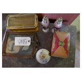JEWLERY BOX, SALT+PEPPER SHAKERS, SUGAR HOLDER