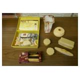 CELLULOID DRESSER SET, CLIPPERS, VASE