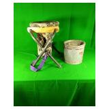 Collapsible Camo Hunting Stool and Minnow Bucket
