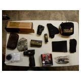 Grip w/ Flashlight & Laser, Etc. Gun Related Items