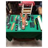 Knives, sheaths, holster, and scope