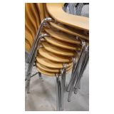 Lot of 8 Formed Back Wood Seat Metal Frame Chairs