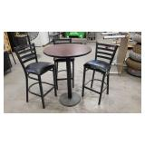 Bar Height Round Table with 3 Barstools - Perfect for Man Cave