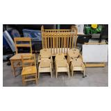 10 Piece Daycare/ Preschool Starter Lot Includes 8 Chairs (Assortment of Sizes), Wooden Crib and White Board Stand