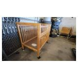 Wooden Crib on Casters