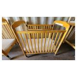 Rounded Top Wooden Frame Crib on Casters