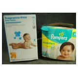Baby Wipes & Size 5 Pampers 58ct