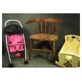 Kids Chair, Doll Cradle & Stroller
