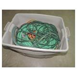 Tote of Extension Cords and Hose