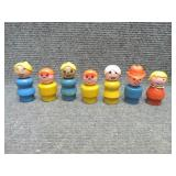 7 - Vintage Fisher Price Wooden Base Little People