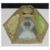 Vtg Slag & Clear Glass Metal Framed Lamp Shade