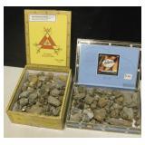 2 Cigar Boxes w/ Fools Gold - Iron Pyrite Minerals