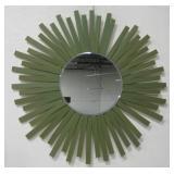 "36"" Diameter Radiating Wood Framed Mirror"