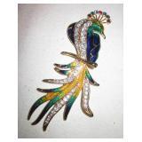 "6"" Enamel Peacock Brooch / Pin"