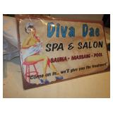 "16"" x 10"" Diva Dae Spa & Salon Tin Sign - NIP"