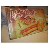 """16"""" x 10"""" Hot Dogs & Beer Tin Sign - NIP"""