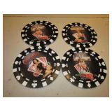 "4 - 7"" Diameter Poker Chip Wall Decor Plaques"
