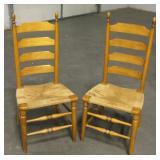 2 Vintage Wood Ladder-Back Chairs