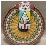 "7"" Diameter Navajo Flat Basket & Hand Carved Doll"