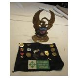 """Military Pins/ Patch & 7"""" Cast Iron Eagle"""
