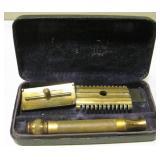 Vintage Brass Gillette Razor With Case